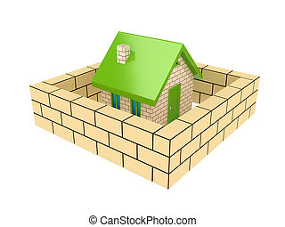 Brick wall around small house.