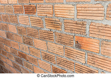 brick wall background in construction site
