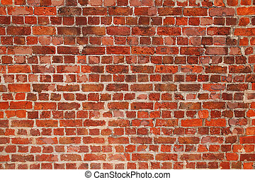 Brick Wall Background - Old repaired weathered brick wall...