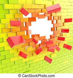 Brick wall broken into pieces background