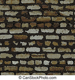 Brick wall, brown relief texture with shadow, vector background illustration