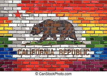 Brick Wall California and Gay flags - Illustration, Rainbow...