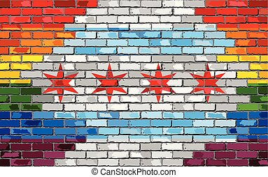 Brick Wall Chicago and Gay flags - Illustration, Rainbow ...
