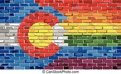 Brick Wall Colorado and Gay flags - Illustration, Rainbow flag on brick textured background, Abstract grunge Colorado flag and LGBT flag