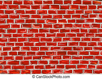 brick wall - hand painted brick wall to use as background -...