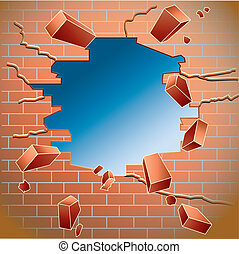 brick wall - Hole in the red brick wall after impact with...