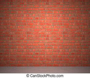 Brick Wall - Exposed brick wall next to a sidewalk.