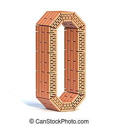 Brick wall font Number 0 ZERO 3D