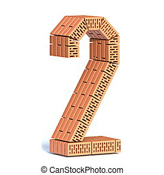 Brick wall font Number 2 TWO 3D