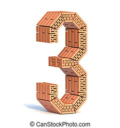 Brick wall font Number 3 THREE 3D