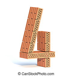 Brick wall font Number 4 FOUR 3D