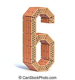 Brick wall font Number 6 SIX 3D
