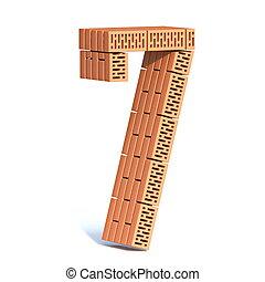Brick wall font Number 7 SEVEN 3D