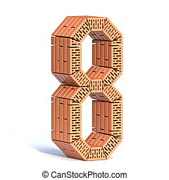 Brick wall font Number 8 EIGHT 3D