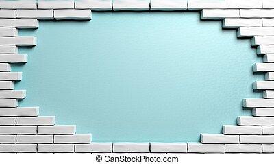 Brick wall frame with hole