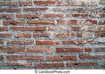 Brick wall from Pompeian Ruins as background - Brickwork,...