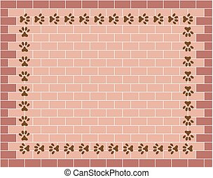 Brick wall graphic background with animal paw prints
