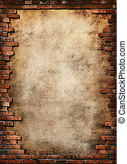 Brick wall grungy frame - Plaster background with brick wall...