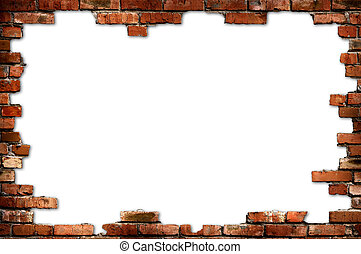 Grungy red brick frame isolated with clipping path on white background