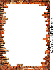 Brick wall grungy frame - White card background with brick...