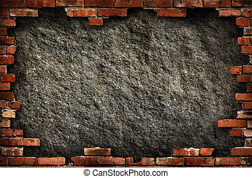 Brick wall grungy frame - Grungy dark gray concrete wall in...
