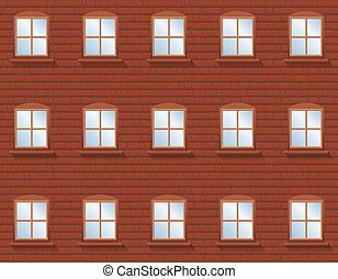Brick wall with windows - rustic apartment building with twenty four windows in which the blue sky is reflected. Vector illustration.