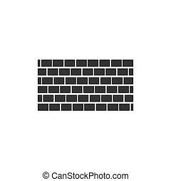 Brick wall icon flat