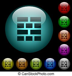 Brick wall icons in color illuminated glass buttons