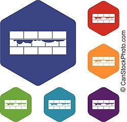 Brick wall icons set