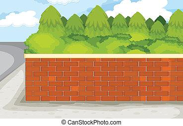 brick wall - illustration of brick wall on nature green...