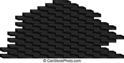 Brick wall in black design on white background