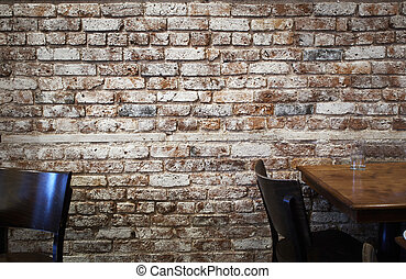 Brick wall in cafe