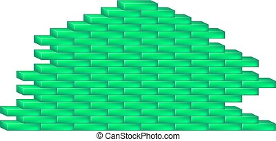 Brick wall in cyan design on white background