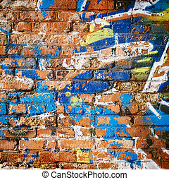 Brick Wall in Ghetto. Messy Background.