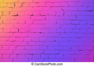 Brick wall in neon light. Modern colors orange, purple and pink background