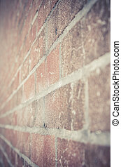 Brick wall in perspective view in under exposure vintage style