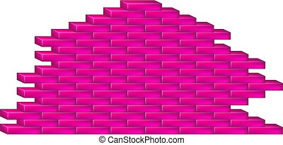 Brick wall in pink design on white background