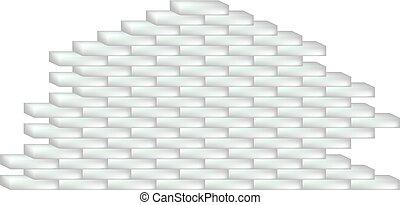 Brick wall in white design on white background