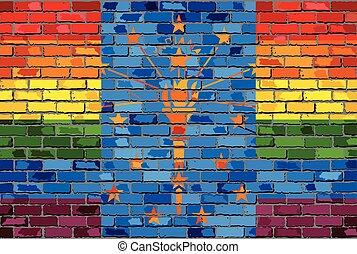 Brick Wall Indiana and Gay flags