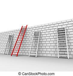 Brick Wall Indicates Chalenges Ahead And Blocked - Brick...