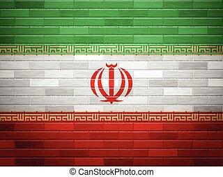 Brick wall Iran flag