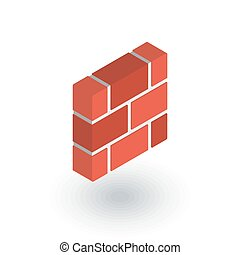 brick wall isometric flat icon. 3d vector colorful...