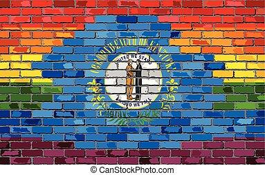 Brick Wall Kentucky and Gay flags