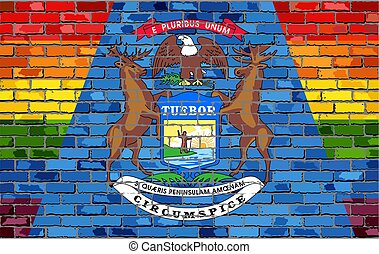 Brick Wall Michigan and Gay flags - Illustration, Rainbow flag on brick textured background, Abstract grunge Michigan Flag and LGBT flag