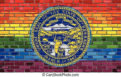 Brick Wall Nebraska and Gay flags