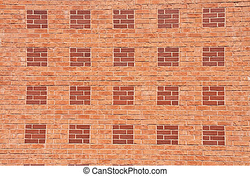 Brick Wall of Orange and Red Pattern