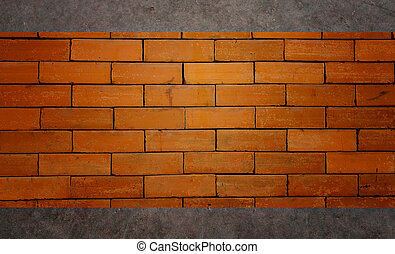brick wall on concrete Background.