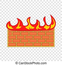 Brick wall on fire icon, cartoon style