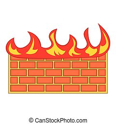 Brick wall on fire icon, cartoon style