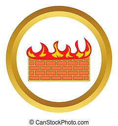 Brick wall on fire icon